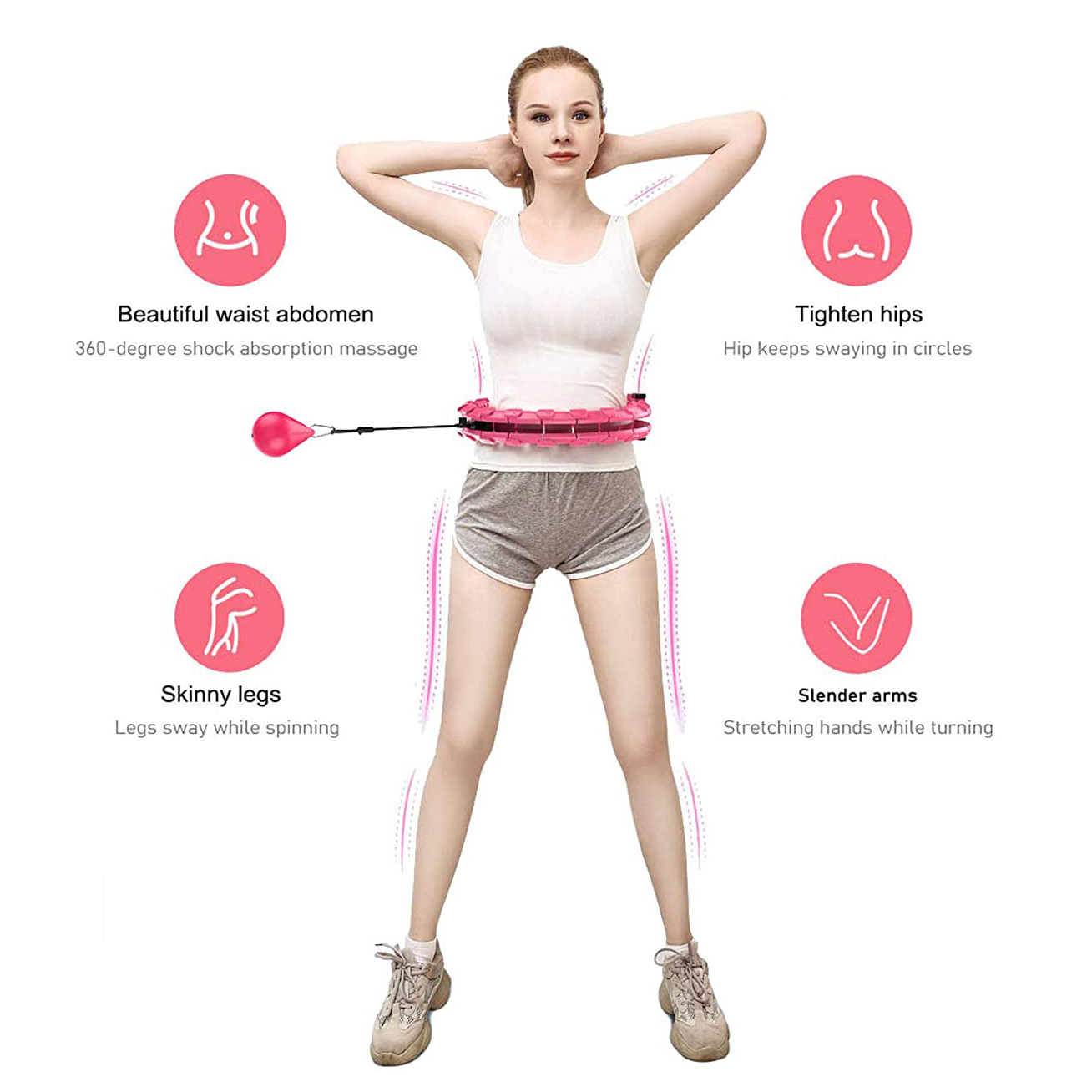 Smart Hula ho Hoop Abnehmen Exerciser Fitness Sport Kreis Reifen Werkz Abnehmbar