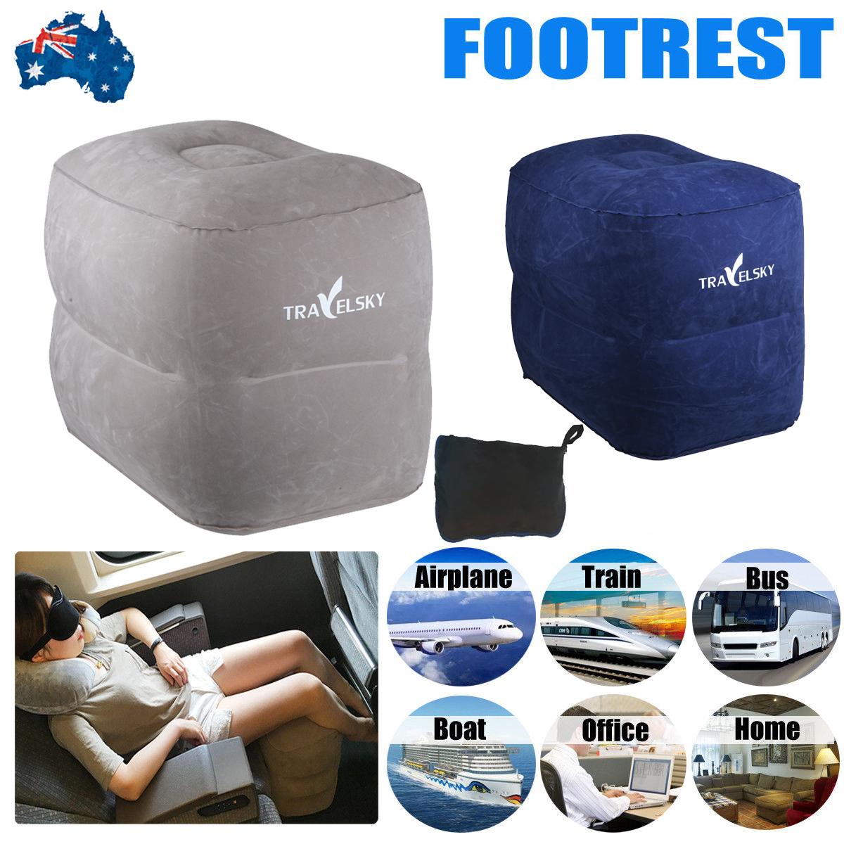 Travel Inflatable Leg Foot Rest Footrest Pillow Recliner